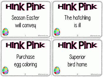 EASTER HINK PINKS HINKY PINKIES Critical Thinking Vocabulary Development GATE