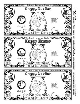 Easter Holiday Dollars - Teach Money, Use for Rewards, Support Centers - Bunnies