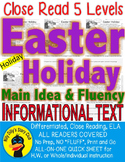 Easter Holiday FACTS Close Read 5 Leveled Differentiated Main Idea TDQs Fluency
