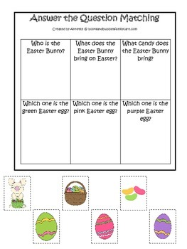 Easter Holiday themed Answer the Question printable game.  Preschool activity.