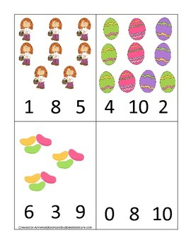 Easter Holiday themed Count and Clip Cards child math curriculum.