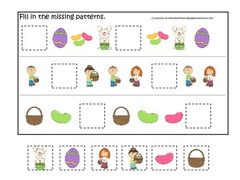 Easter Holiday themed Fill in the Missing Pattern preschool printable game.