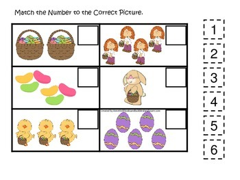 Easter Holiday themed Match the Number preschool educational game.