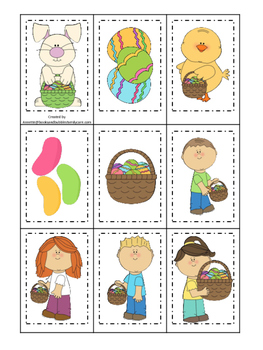 Easter Holiday themed Memory Matching preschool curriculum game. Daycare