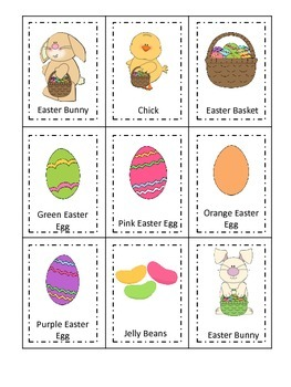 Easter Holiday themed Three Part Matching preschool printable activity.