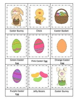 Easter Holiday themed Three Part Matching preschool printa