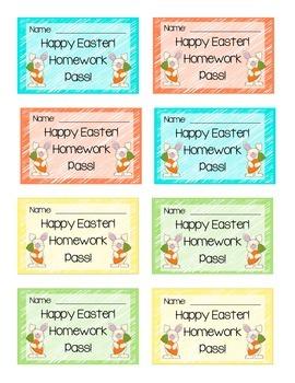 Easter Homework Passes FREEBIE