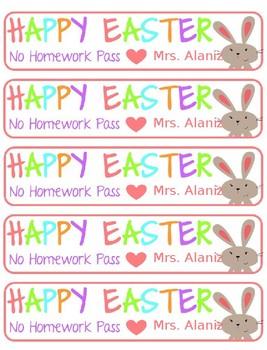 Easter Homework Passes