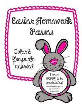 Easter Homework Passes.  Good for one assignment.  Spring. Bunny.