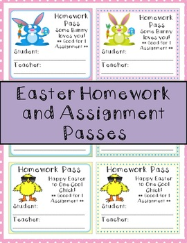 Easter Homework and Assignment Passes