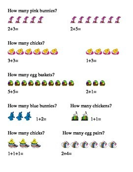Easter How Many Addition Kindergarten Math