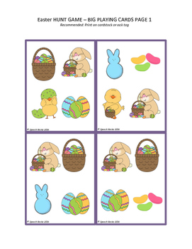 Easter Hunt Game ~ Verbal Expression, Visual Discrim, Matching