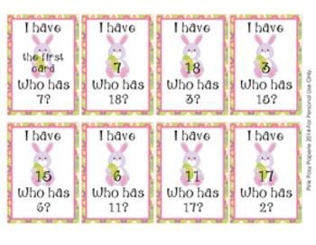 Easter I Have Who Has? Number Recognition Game 1-20