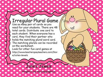 Easter Irregular Plural Game