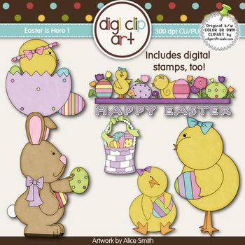 Easter Is Here 1-  Digi Clip Art/Digital Stamps - CU Clip Art