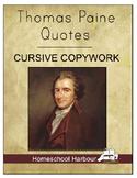 Thomas Paine Quotes Cursive Copywork Notebook