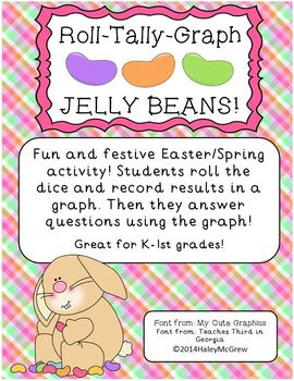 Easter Jelly Beans Roll Tally Graphing Math Activity Spring