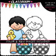 Easter Kids - Clip Art & B&W Set