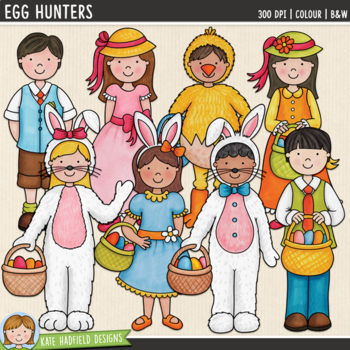 "Easter Kids Clip Art: ""Egg Hunters"""