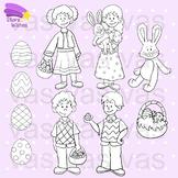 Easter Kids Clip Art Line Art