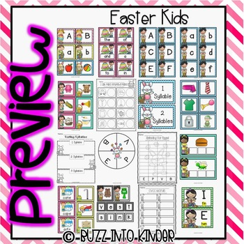 Easter Kids - Math and Literacy Centers
