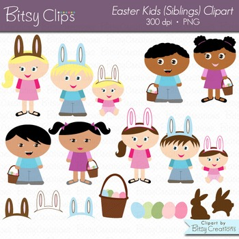 Easter Kids (Siblings Set) Digital Art Set Clipart Commercial Use Clip Art