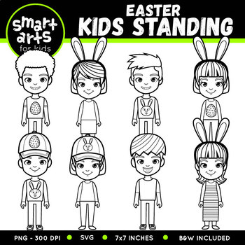 Easter Kids Standing Clip Art