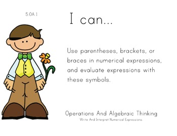 Easter Kids Theme 5th grade math Common Core Posters Fifth Grade Standards