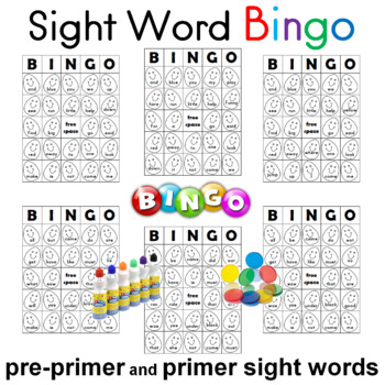 Sight Word Bingo Pre-primer and Primer Sheets Dolch Sight Words