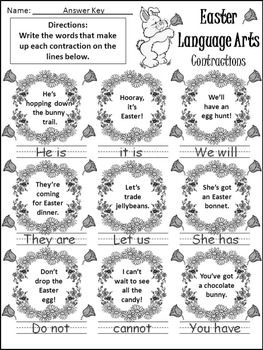 Easter Worksheet Activities: Easter Language Arts Activity Packet - BW  Version