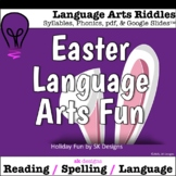 Easter Language Arts Riddles Syllables Spelling Game w Goo
