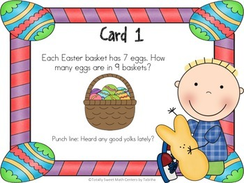 Easter Laughs- A Math Review and Easter Joke Walk the Room Gr.3