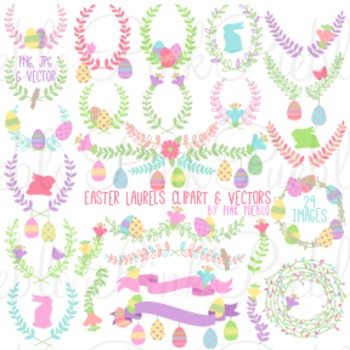 Easter Laurels or Easter Flowers Clipart and Vectors - Commercial & Personal Use