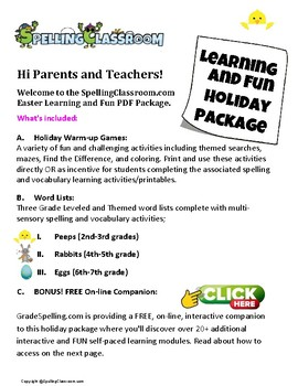 Easter Learning & Fun Includes: Spelling & Vocab & Games 3 Levels Online & Print