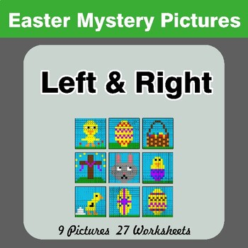Easter: Left & Right side - Color by Emoji - Mystery Pictures
