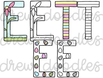 Easter Letters Digital Clip Art Set- Color and Black Line COMBO