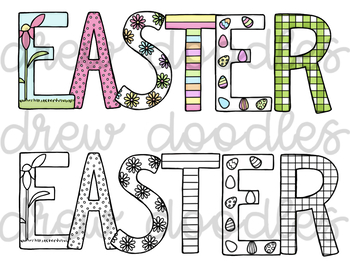 Easter Letters Digital Clip Art Set- Color and Black Line COMBO