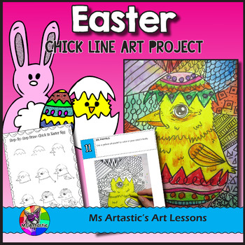 Easter Art Project, Chick in an Egg Line Art