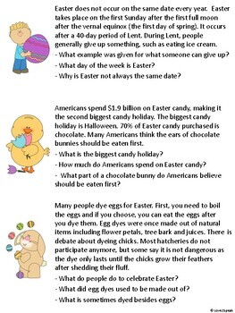 Easter Listening Comprehension, Short Term Recall and WH Questions