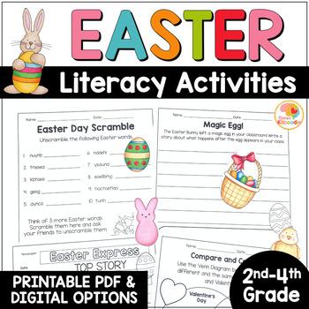Easter Literacy Activities - NO PREP Worksheets