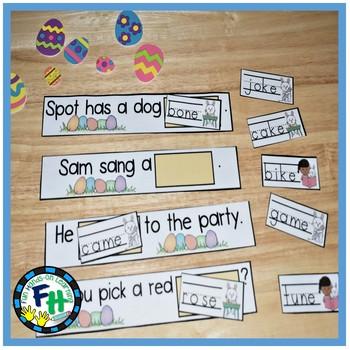 Easter Literacy Center {CVCE Missing Word Sentences}