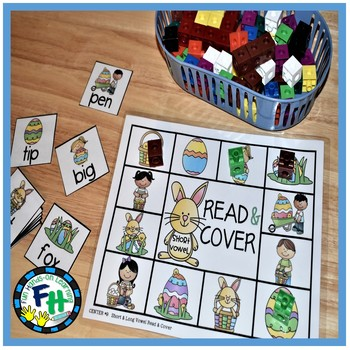 Easter Literacy Center {Read & Cover Short/Long Vowels}