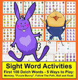 Easter Activities 10 Sets of Sight Word Card Games - First 100 Dolch Words