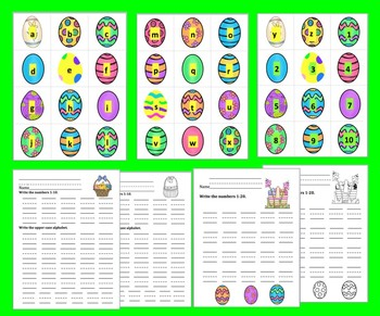 Easter FREE:  ABC & 123 - Alphabet Sequencing, Letter Matching, Counting to 20
