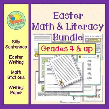 Easter Activities Math and Literacy Bundle - Writing, Word Work, Math Fun