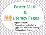 Easter Litracy and Math Worksheets