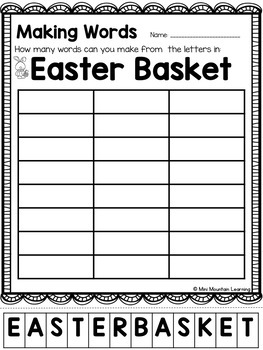 Easter Making Words