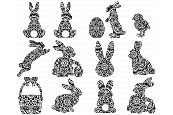 Easter Mandala SVG, Bunny  Mandala SVG, Rabbit Mandala SVG.