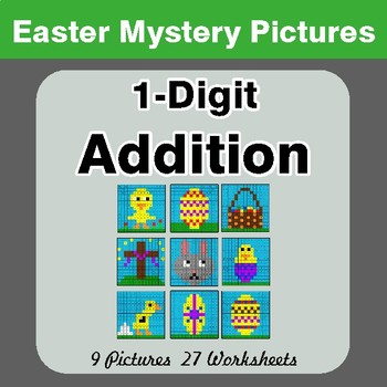 Easter Math: 1-digit Addition - Color-By-Number Math Mystery Pictures