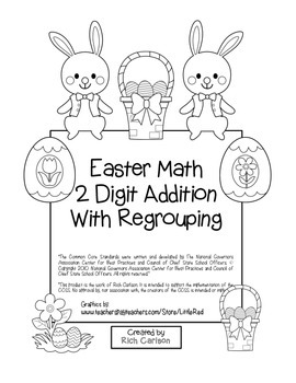 """""""Easter Math"""" 2 Digit Addition With Regrouping - Common Core - Fun! (black line)"""
